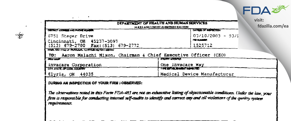 Invacare FDA inspection 483 Mar 2003