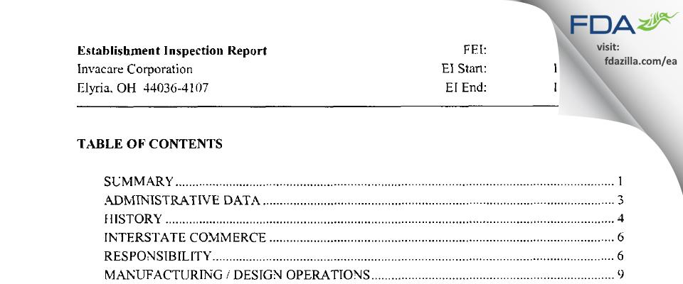 Invacare FDA inspection 483 Nov 2004
