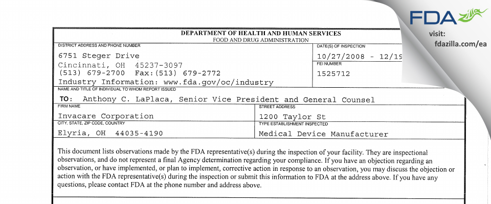Invacare FDA inspection 483 Dec 2008