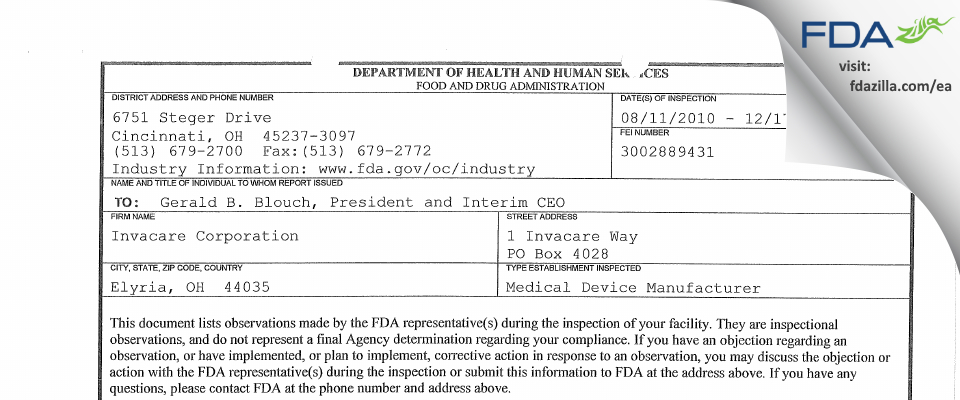 Invacare FDA inspection 483 Dec 2010