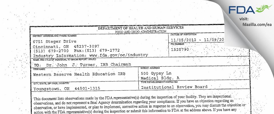 Western Reserve Health Education IRB FDA inspection 483 Nov 2012
