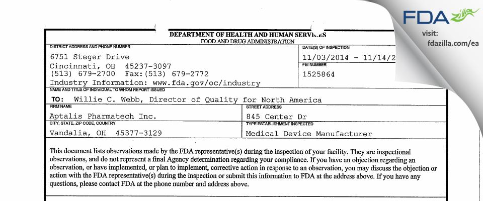 Adare Pharmaceuticals FDA inspection 483 Nov 2014