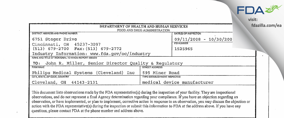 Philips Medical Systems (Cleveland) FDA inspection 483 Oct 2008