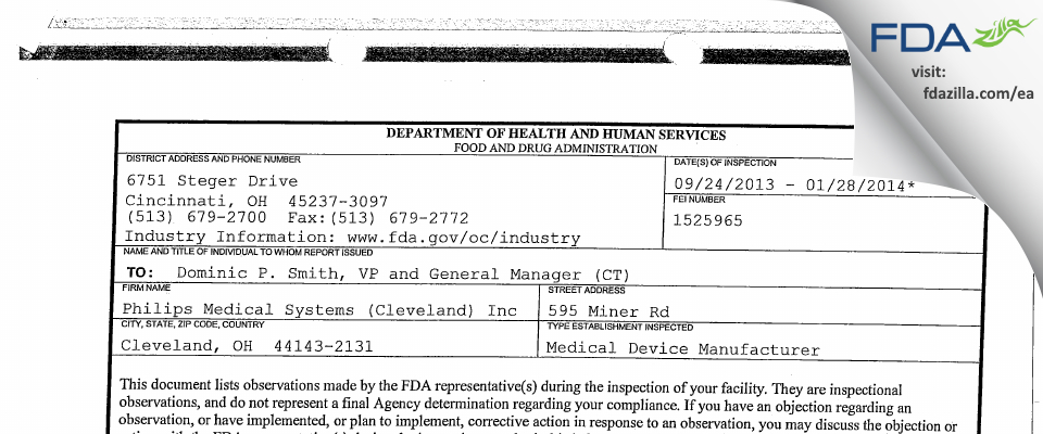 Philips Medical Systems (Cleveland) FDA inspection 483 Jan 2014