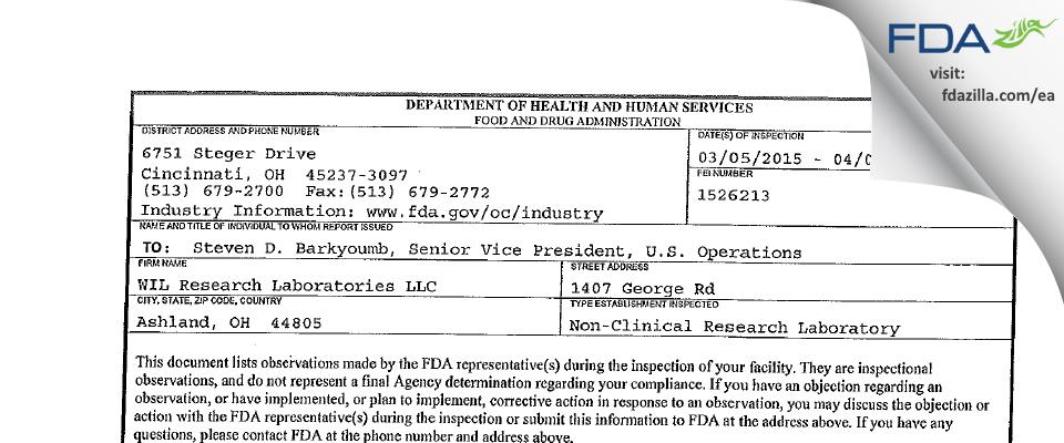 Charles River Labs Ashland FDA inspection 483 Apr 2015