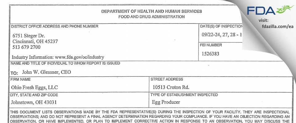 Trillium Farm Holdings FDA inspection 483 Oct 2010