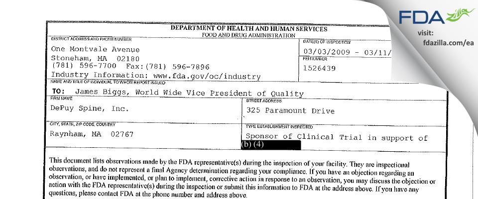 DePuy Spine FDA inspection 483 Mar 2009