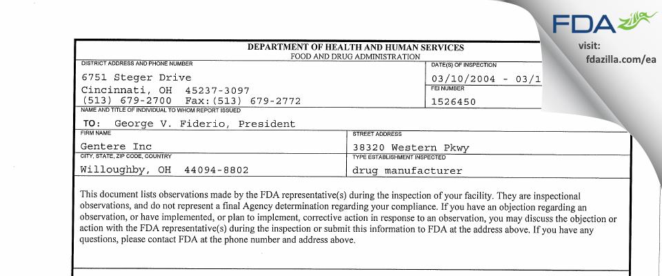 Gentere FDA inspection 483 Mar 2004