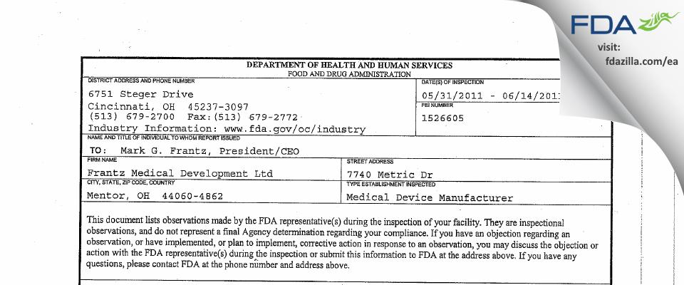 Frantz Medical Development FDA inspection 483 Jun 2011
