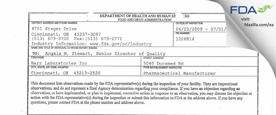 Teva Womens Health FDA inspection 483 Jul 2009