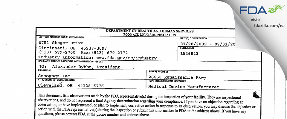 Sonogage FDA inspection 483 Jul 2009