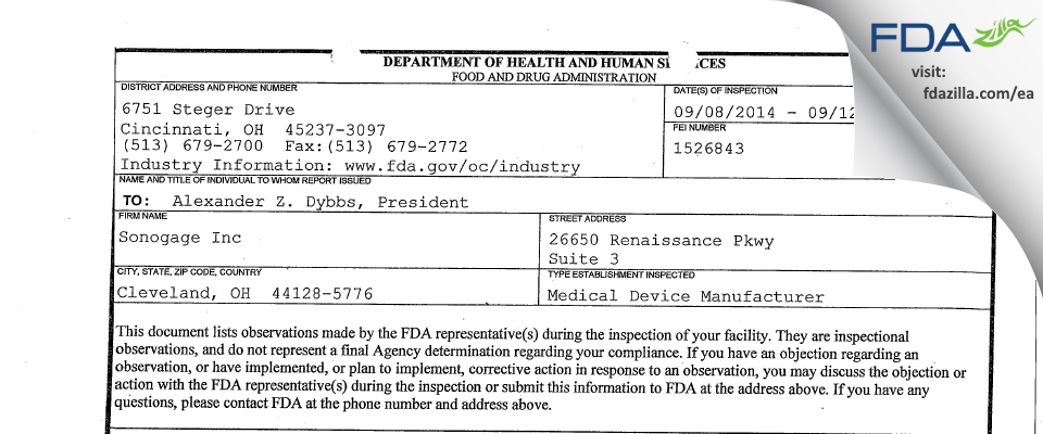 Sonogage FDA inspection 483 Sep 2014