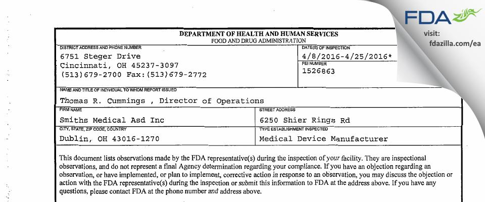 Smiths Medical Asd FDA inspection 483 Apr 2016