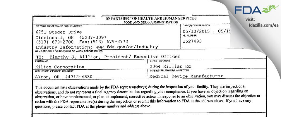 Kiltex FDA inspection 483 May 2015