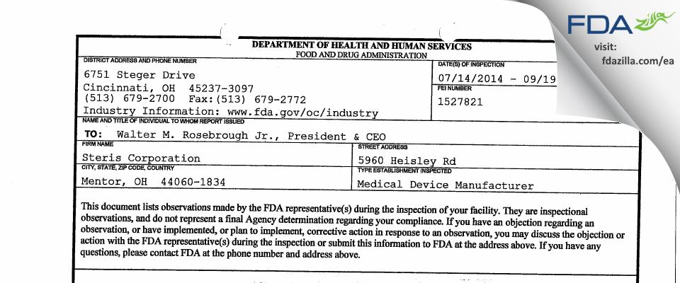 Steris FDA inspection 483 Sep 2014