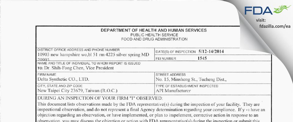 Delta Synthetic FDA inspection 483 May 2014