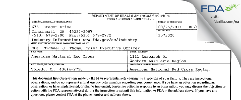 American National Red Cross FDA inspection 483 Aug 2014