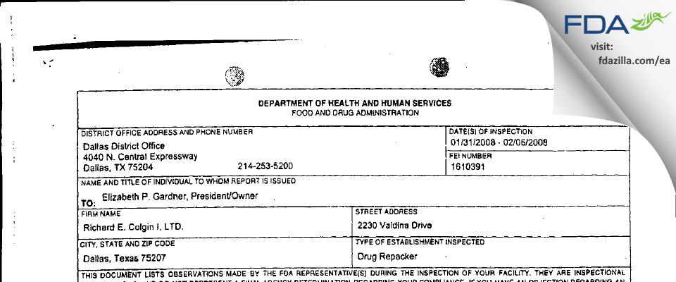Colgin FDA inspection 483 Feb 2008