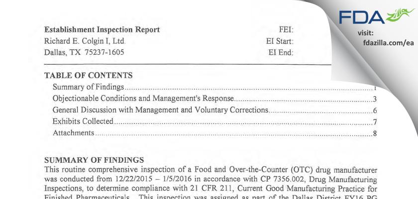 Colgin FDA inspection 483 Jan 2016