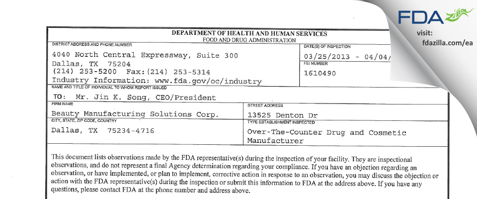 Beauty Manufacturing Solutions FDA inspection 483 Apr 2013