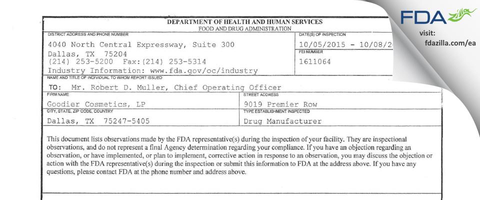 Goodier Cosmetics, Lp FDA inspection 483 Oct 2015