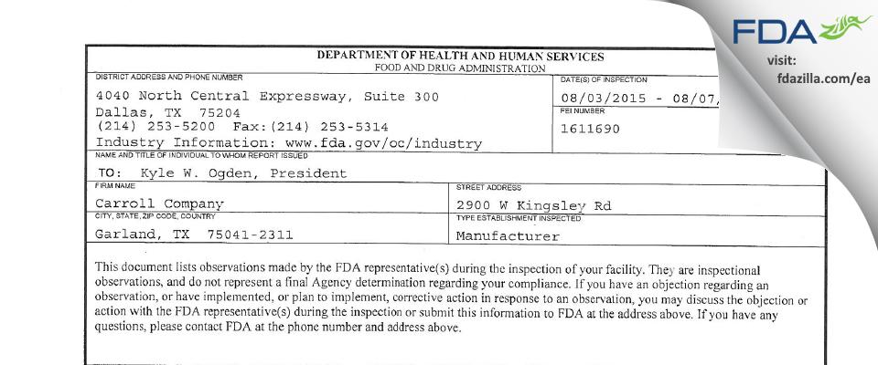 Carroll Company FDA inspection 483 Aug 2015