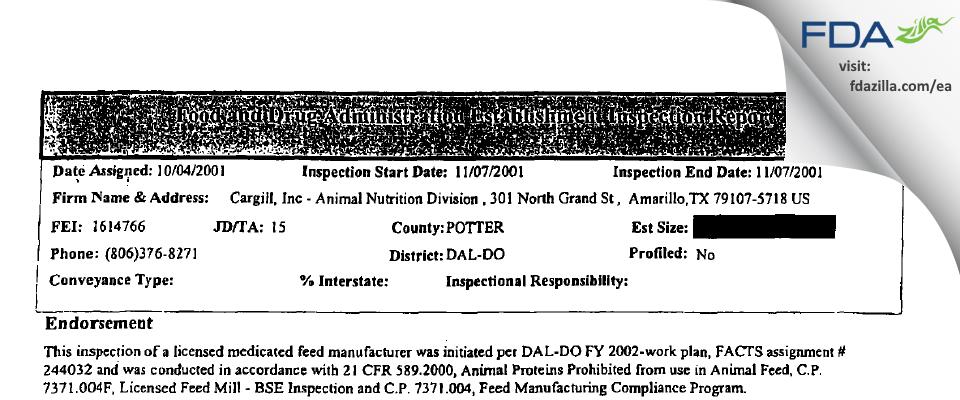CARGILLORPORATED FDA inspection 483 Nov 2001