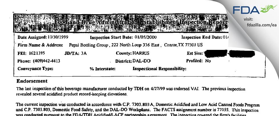 Pepsi Bottling Group FDA inspection 483 Jan 2000
