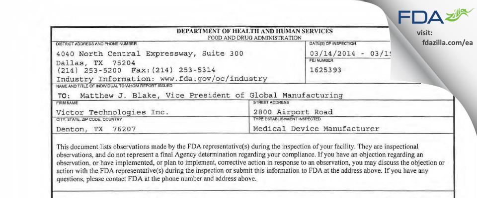 Victor Technologies FDA inspection 483 Mar 2014