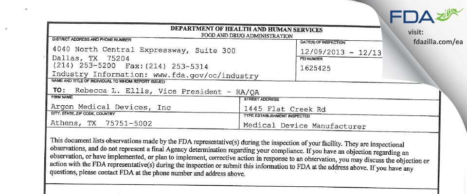 Argon Medical Devices FDA inspection 483 Dec 2013