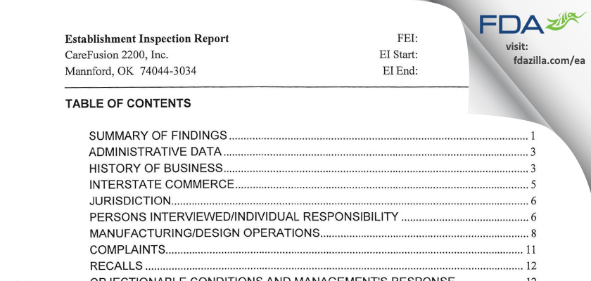 CareFusion 2200 FDA inspection 483 Jun 2014