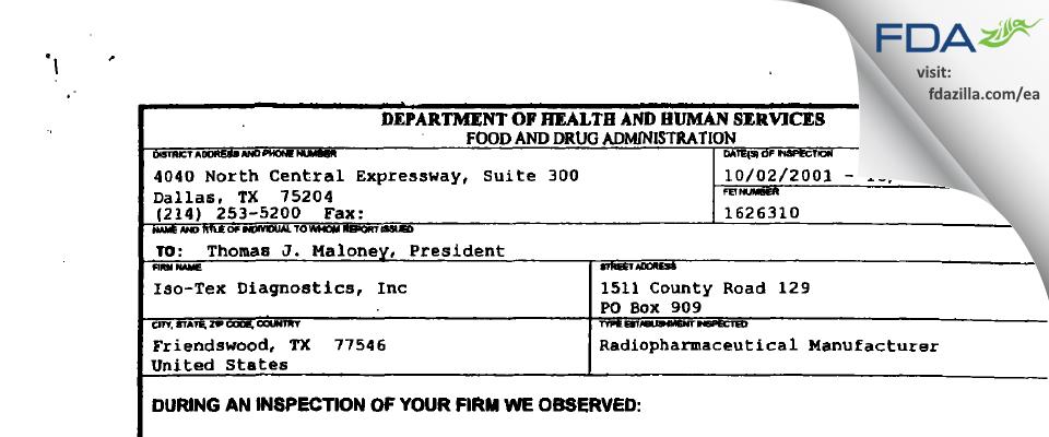 Iso-Tex Diagnostics FDA inspection 483 Oct 2001