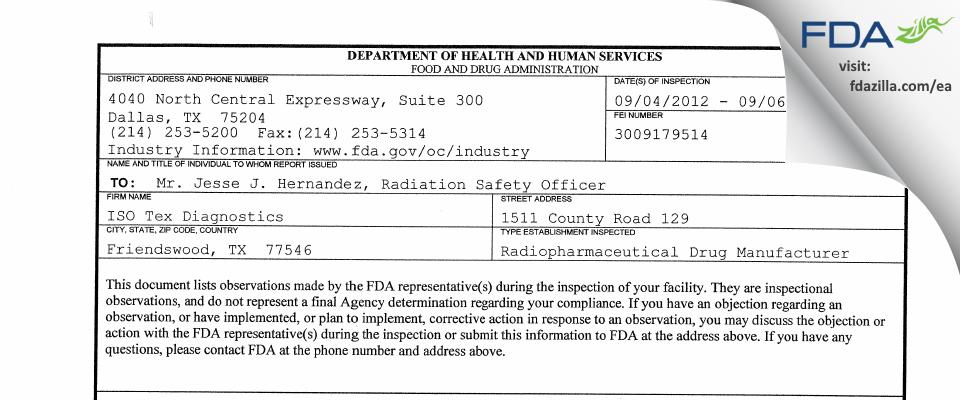 Iso-Tex Diagnostics FDA inspection 483 Sep 2012