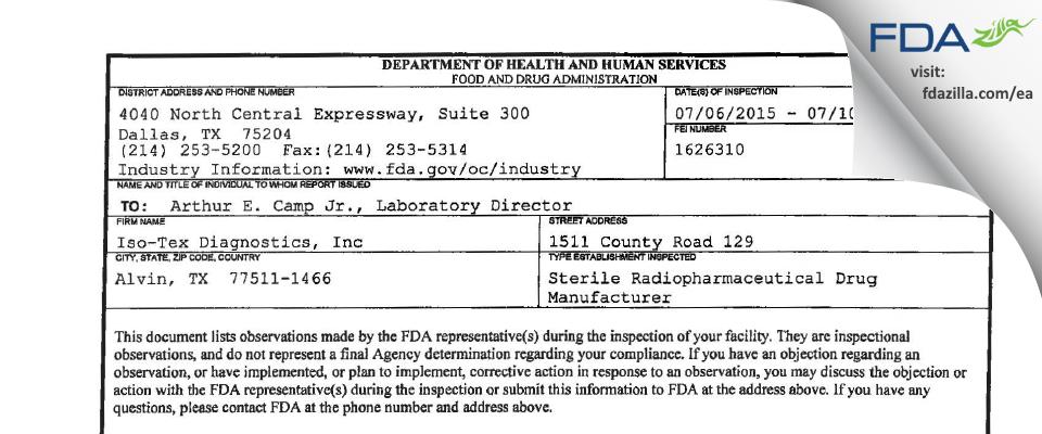 Iso-Tex Diagnostics FDA inspection 483 Jul 2015