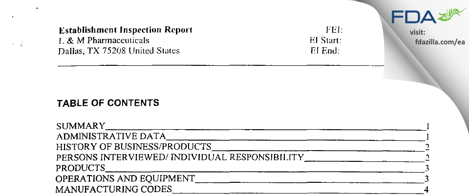 L & M Pharmaceuticals FDA inspection 483 Feb 2002
