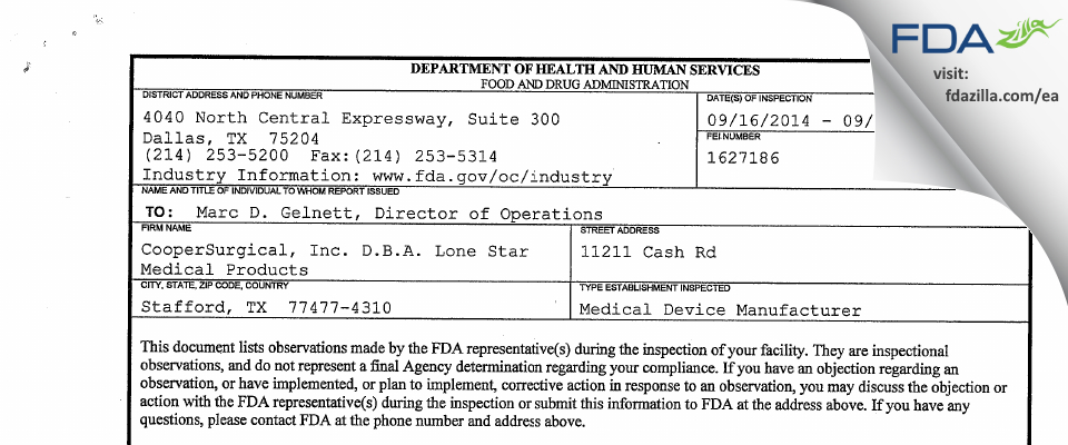 CooperSurgical FDA inspection 483 Sep 2014