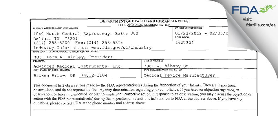 Advanced Medical Instruments FDA inspection 483 Feb 2012