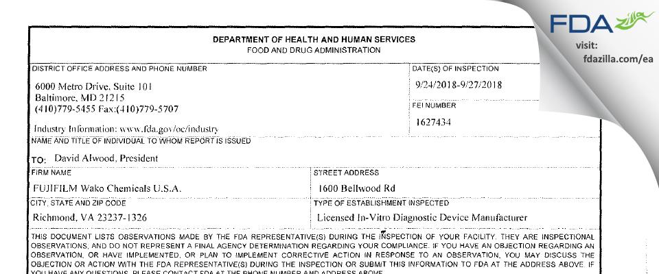 FUJIFILM Wako Chemicals U.S.A. FDA inspection 483 Sep 2018