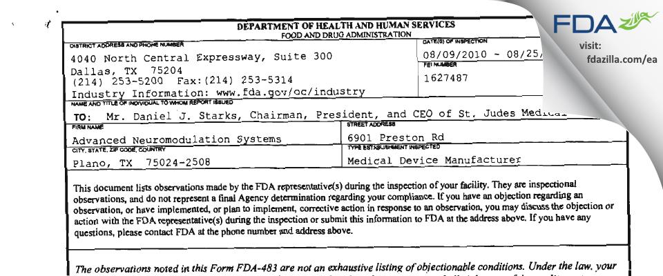 St. Jude Medical FDA inspection 483 Aug 2010