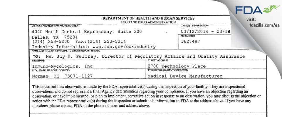 Immuno-Mycologics FDA inspection 483 Mar 2014