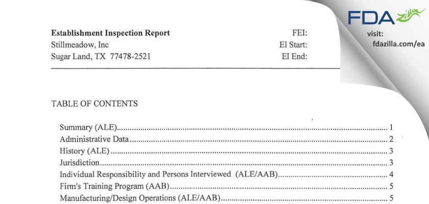 Stillmeadow FDA inspection 483 Jun 2013