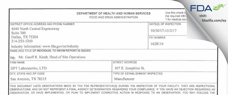 DPT Labs FDA inspection 483 Nov 2017