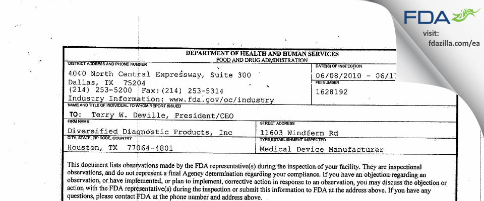 Diversified Diagnostic Products FDA inspection 483 Jun 2010