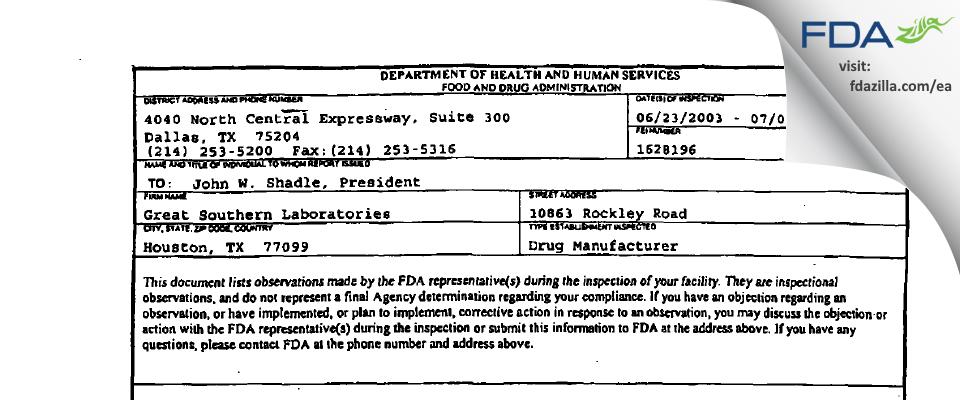 Woodfield Pharmaceutical FDA inspection 483 Jul 2003