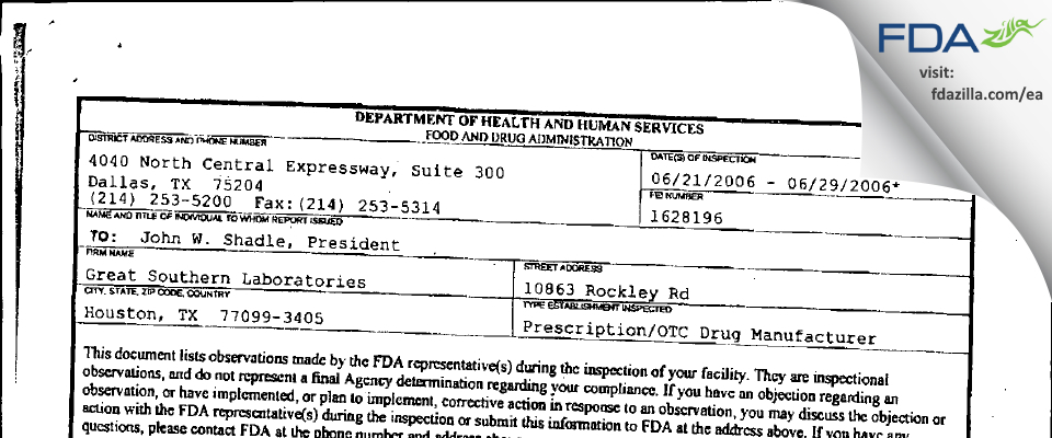 Woodfield Pharmaceutical FDA inspection 483 Jun 2006