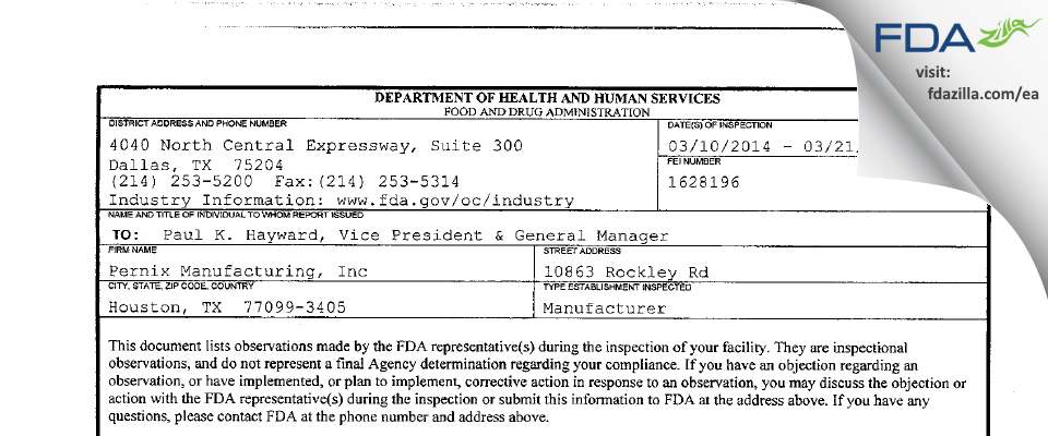 Woodfield Pharmaceutical FDA inspection 483 Mar 2014