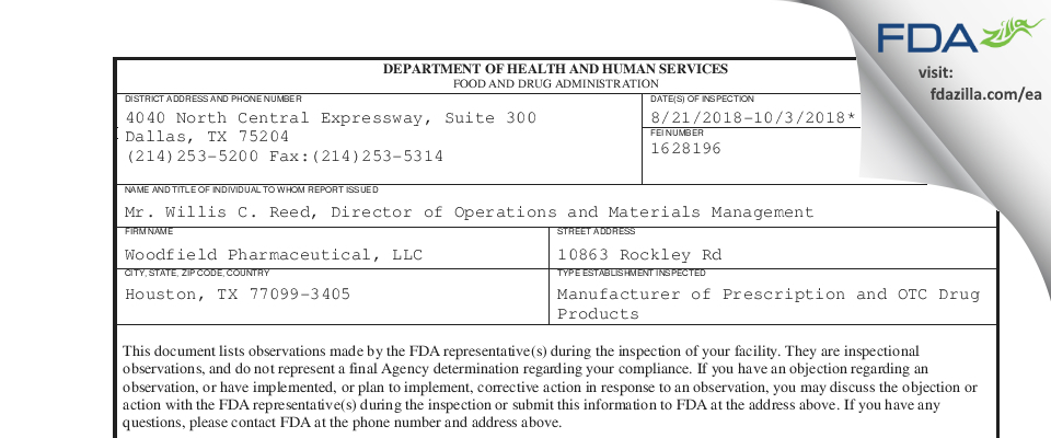 Woodfield Pharmaceutical FDA inspection 483 Oct 2018
