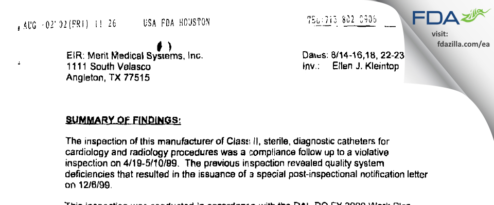 Merit Medical Systems FDA inspection 483 Aug 2000