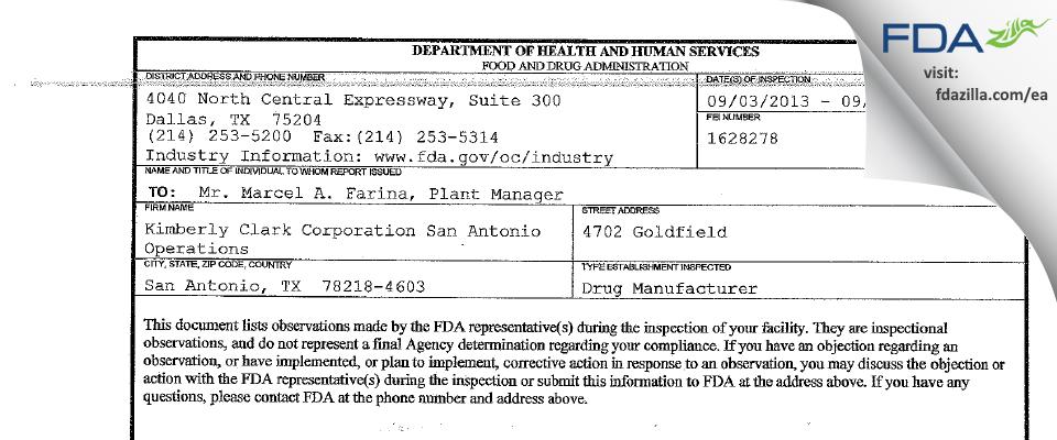 Kimberly Clark San Antonio Operations FDA inspection 483 Sep 2013