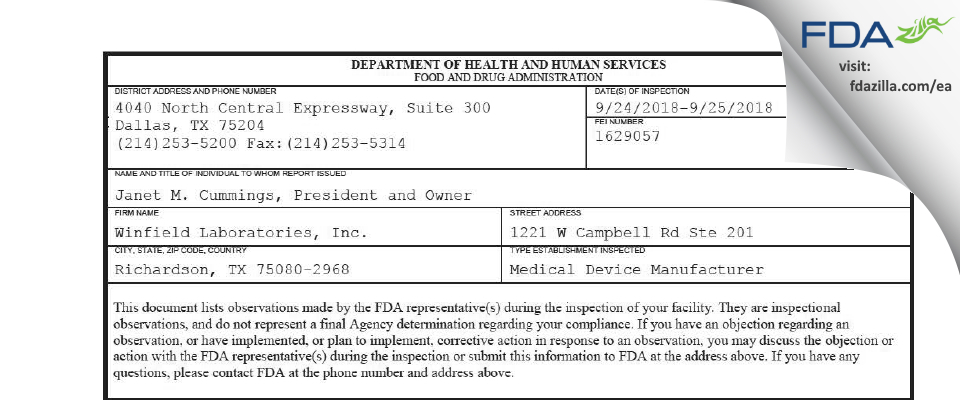 Winfield Labs FDA inspection 483 Sep 2018